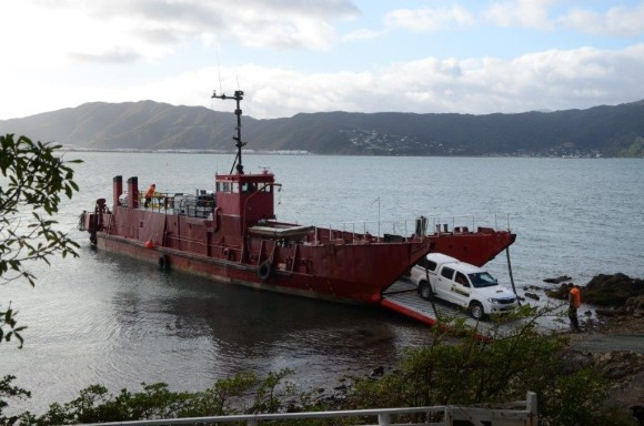 Unloading the barge on Matiu/Somes Island.