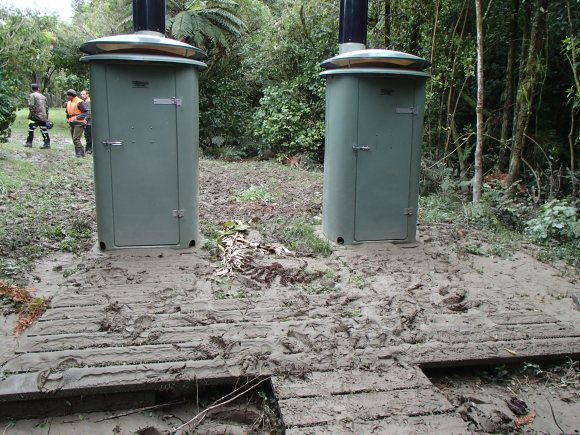 Flooded toilets at Tieke campsite.