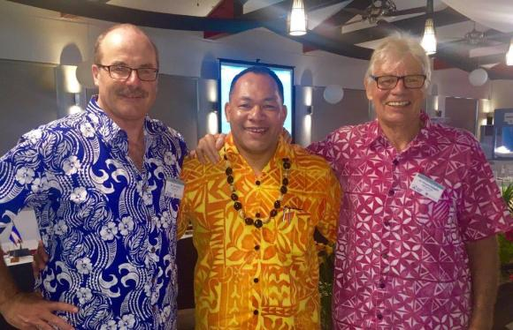 The two Director-Generals! With SPREP's newly appointed Director-General, Kosi Latu (centre) and Mike Donoghue, SPREP Threatened and Migratory Species Advisor..