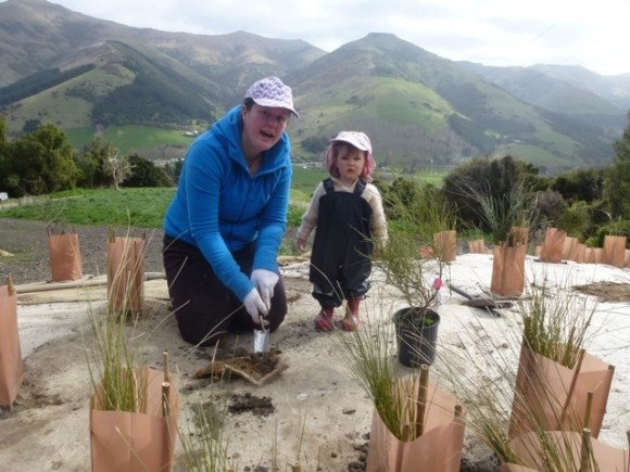 Anna Paltridge and daughter Isla at Tirowaikare.