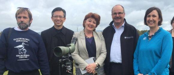 Adrien Reigen from Miranda Naturalists Trust, Ambassador Wang Lutong, Minister Barry, Lou Sanson, and Carolyn Mortland, Director of Sustainability at Fonterra.