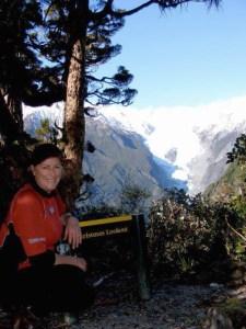 Jo at Christmas Lookout at Franz Josef Waiau Glacier.