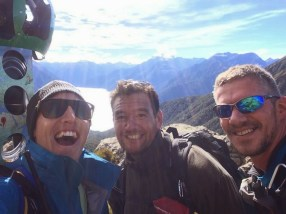 Matt, Peter, and Riki on the Routeburn Track.
