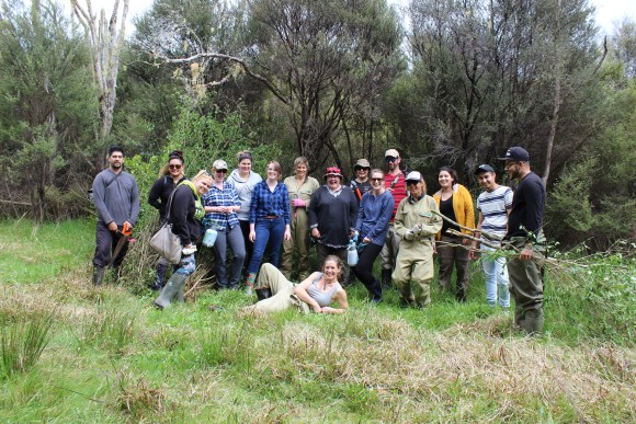 The Northtec team after a successful days weeding. Photo: Fiona Gordon (DOC)