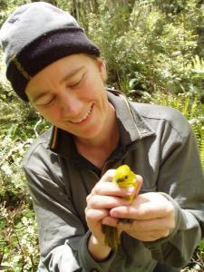 Kate McInnes holding a mohua/yellowhead.