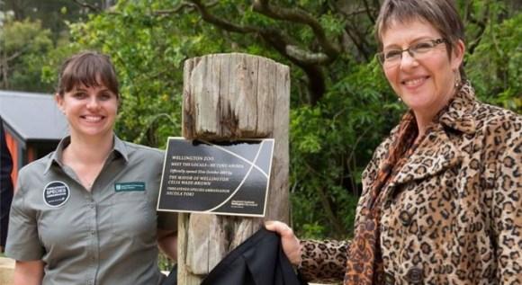 """Nicola Toki and Celia Wade-Brown opening """"Meet the Locals – He Tuku Aroha"""" at Wellington Zoo."""