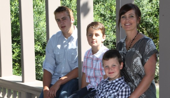Natasha with sons Isaac, Ethan and Nicholas.