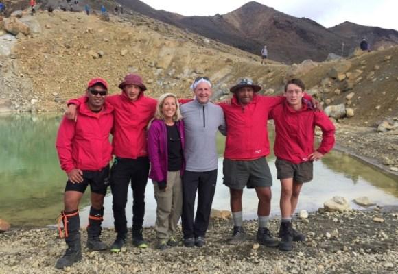 US Ambassador Mark Gilbert with wife Nancy Gilbert and the Ngati Hikairo Kaitiaki guides at Tongariro.