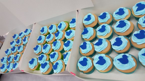 Blue duck cupcakes.