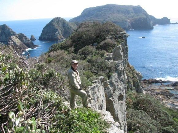 Monica working at the Poor Knights Islands.