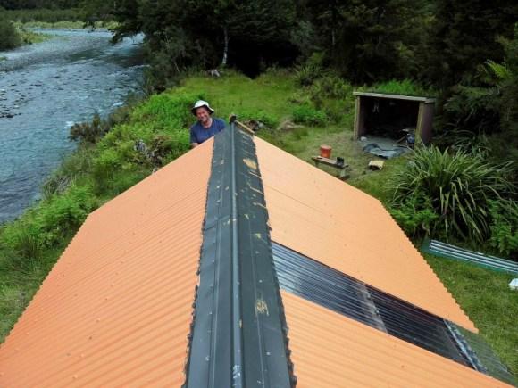 New ridging and skylight at Tunnel Creek Hut.