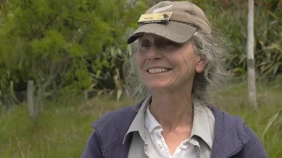 Tiritiri Matangi volunteer Morag Fordham in a still from the Wildside film.