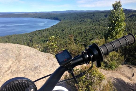 Stopping to take in the view of Lake Taupo while clearing windfalls, Kawakawa Bay.