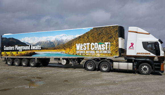 One of the branded trucks promoting the West Coast's 'untamed natural wilderness'.