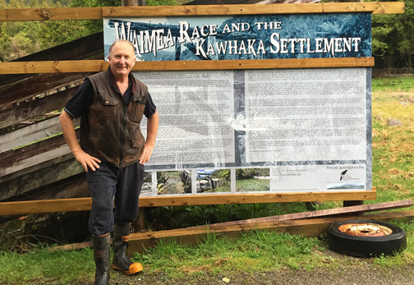 Paul Sinclair organised for an interpretation panel to be installed at Kawhaka settlement, telling the story of the settlement, first established in 1876.
