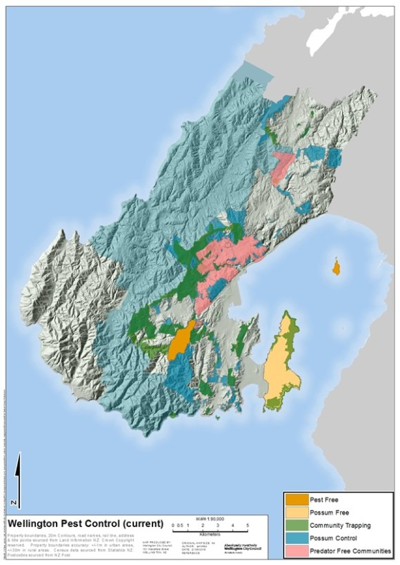 Map of current pest control across Wellington City.