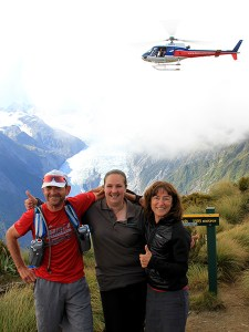 At the top of Alex Knob, Franz Josef celebrating with Mal and Sally as the team reached their day 10 peak on the High Five-0