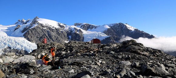 Ian Singleton, Eldon Dennis and I waiting for our helicopter after working at Almer Hut – sometimes the 'office' is pretty spectacular!