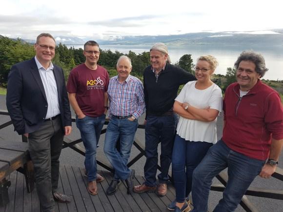 Wayne Barnett, CEO Mackenzie District, Andrew Crisp, CE LINZ, Mike Ross, CEO Waitaki District, Mike Neilson, Chair Mackenzie Country Trust, Sally Jones, Operations Manager, Rob Young, Mackenzie Country Trust.