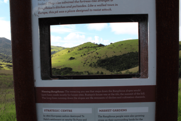 Cut-out sign that framed a view of Rangihoua.
