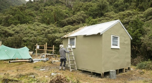 Newton Creek Hut. The hut was painted by the Outdoor Recreation Consortium with paint from the Dulux partnership. Photo: Rob Brown.