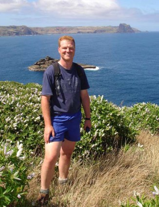 Peter de Lange on Mangere island 060214
