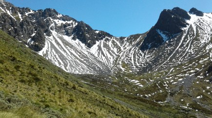 Mountainous terrain of the Murchison Mountains. Photo: DOC