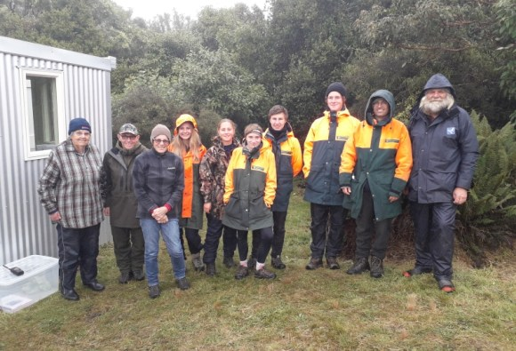 The volunteers who received the kōrure at the Maungaharuru nesting site.