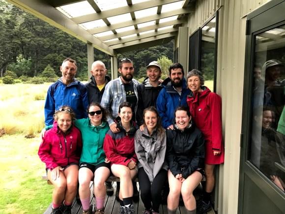 The whole team outside Iris Burn Hut.