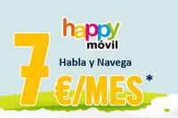 Happy Móvil rebaja a 7 euros su tarifa Habla y Navega de 1,2 GB
