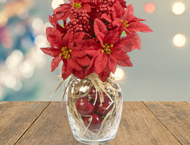 Festive Poinsettia and Apple Bouquet