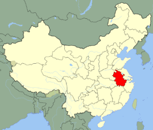 Map of China with Anhui Highlighted
