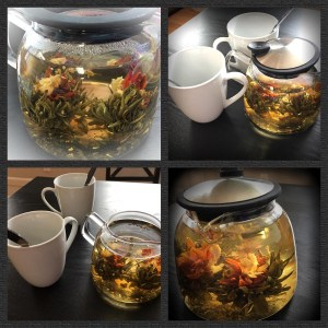 Flowering teas in a teapot for two at Dominion Tea - Purcellville Tasting Room