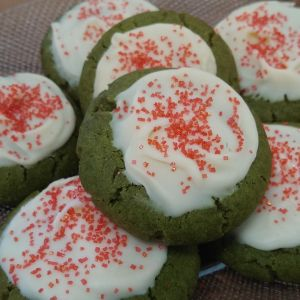 Matcha Cookies with White Chocolate Frosting