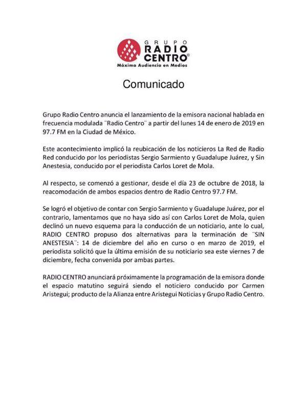 Comunicado Carlos Loret