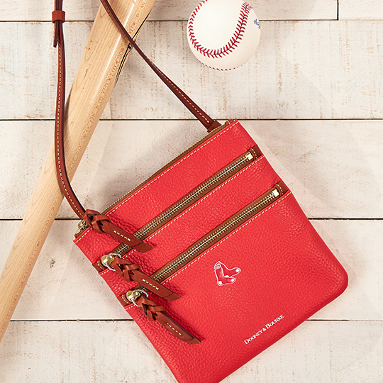 Dooney & Bourke Red Sox Triple Zip Crossbody in red from MLB Collection.