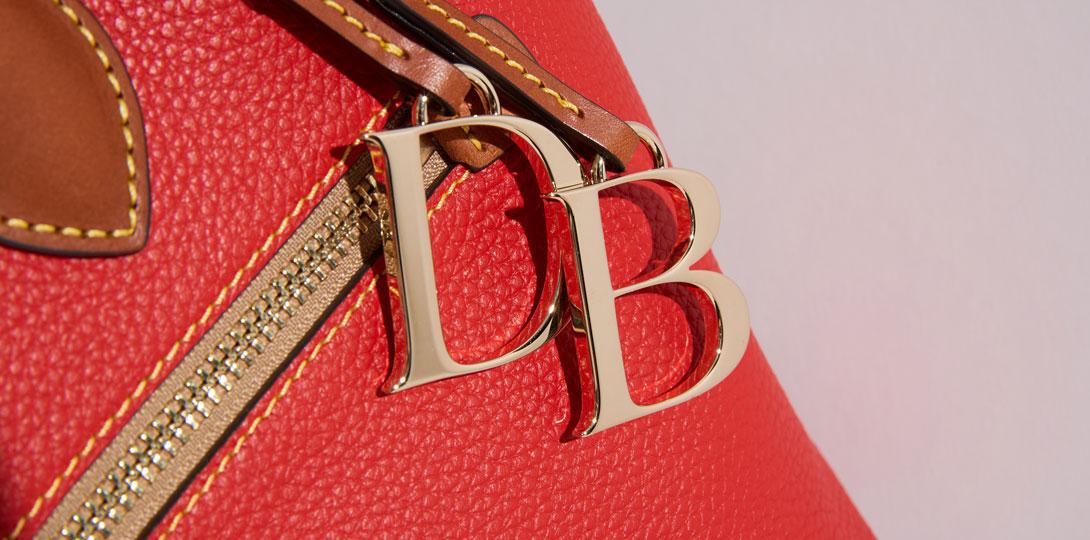 close up of pebble leather handbag