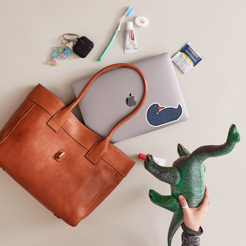 Contents spilling out of a Dooney & Bourke Florentine Large Amelie tote.