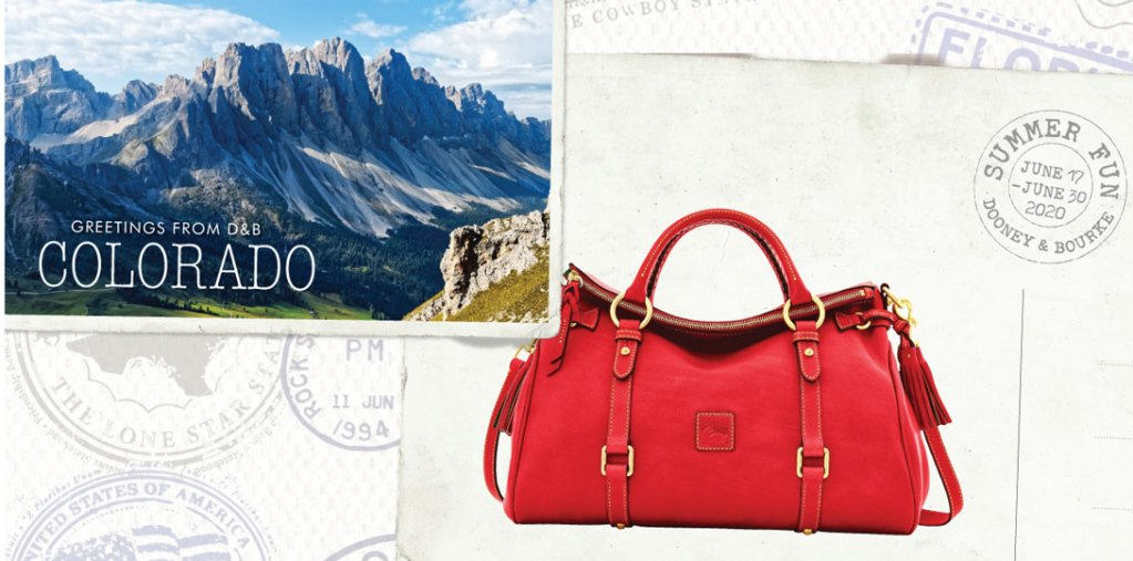 colorado postcard featuring leather satchel handbag