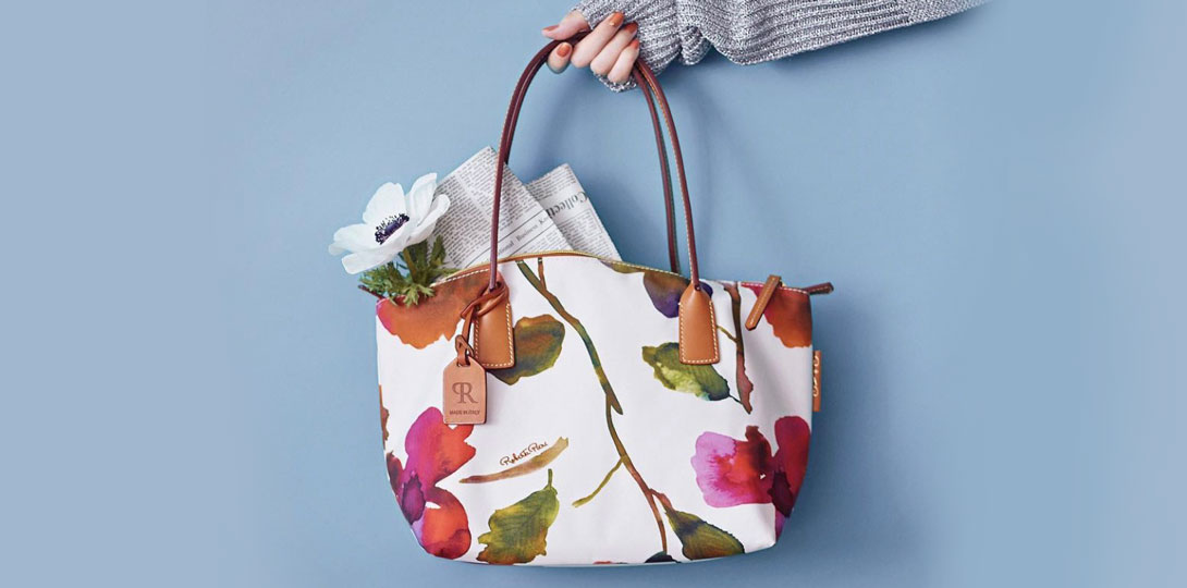 Roberta Pieri tote bag with floral print.