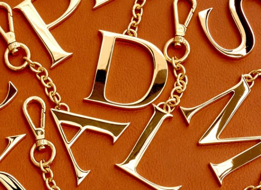 Assorted monogram charms in 24k gold.