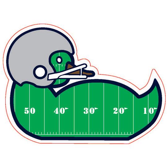 A duck-shaped sticker wearing a football helmet.