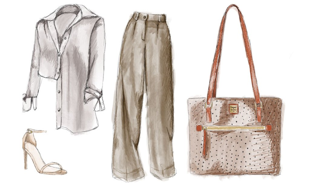 A sketch of our Ostrich tote, styled with a silk button down blouse, wide-legged pants, and stilettos.