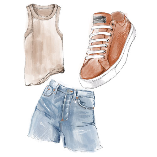 A sketch of denim shorts, a tank top, and the Classic Lace Up sneakers.