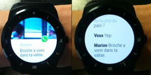 Message WhatsApp sur la smartwatch