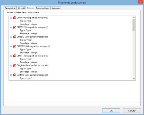 Types de polices utilisées, sous Adobe Reader