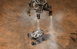 Artist's impression of Curiosity landing on Mars.