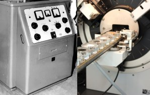 Two diffractometers: one from the 1970s and another from the present day.