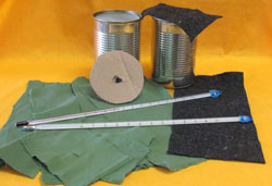 2 thermometers, cotton, wool, cardboard, aluminium cans.