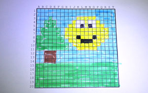 Make a picture by colouring in boxes on the grid.